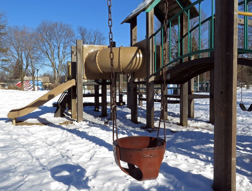 The playground equipment in Longfellow Park