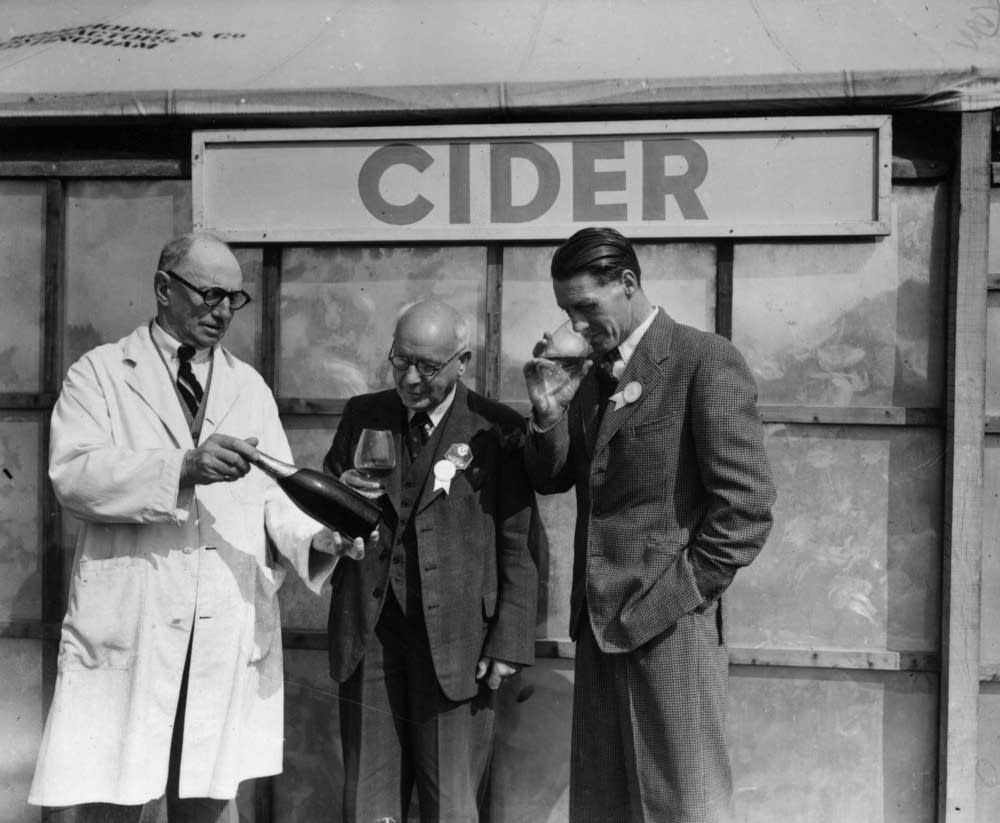 Judges at a cider competition