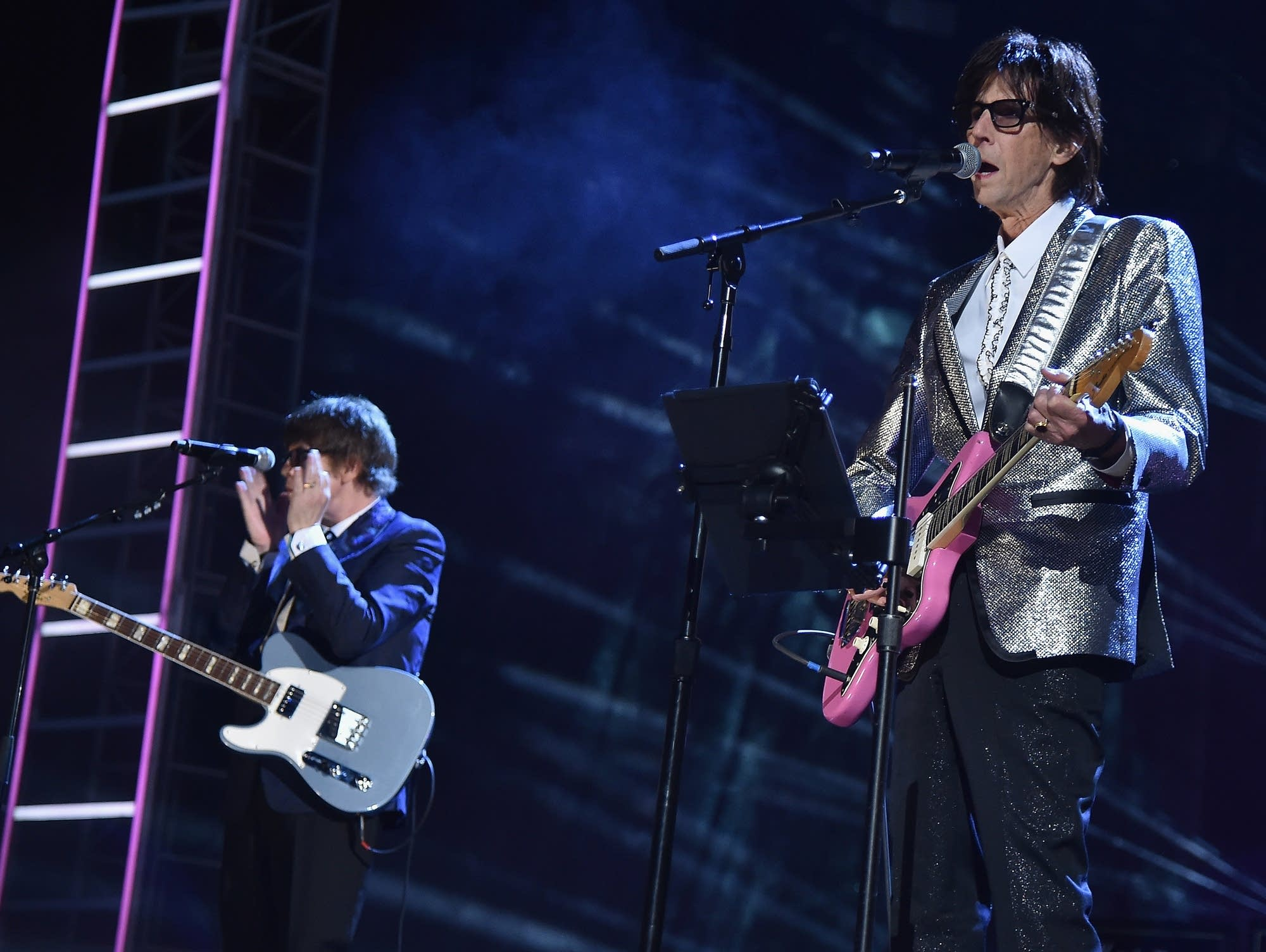Ric Ocasek of the Cars performs at the Rock and Roll Hall of Fame.