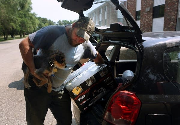 Unloading the car