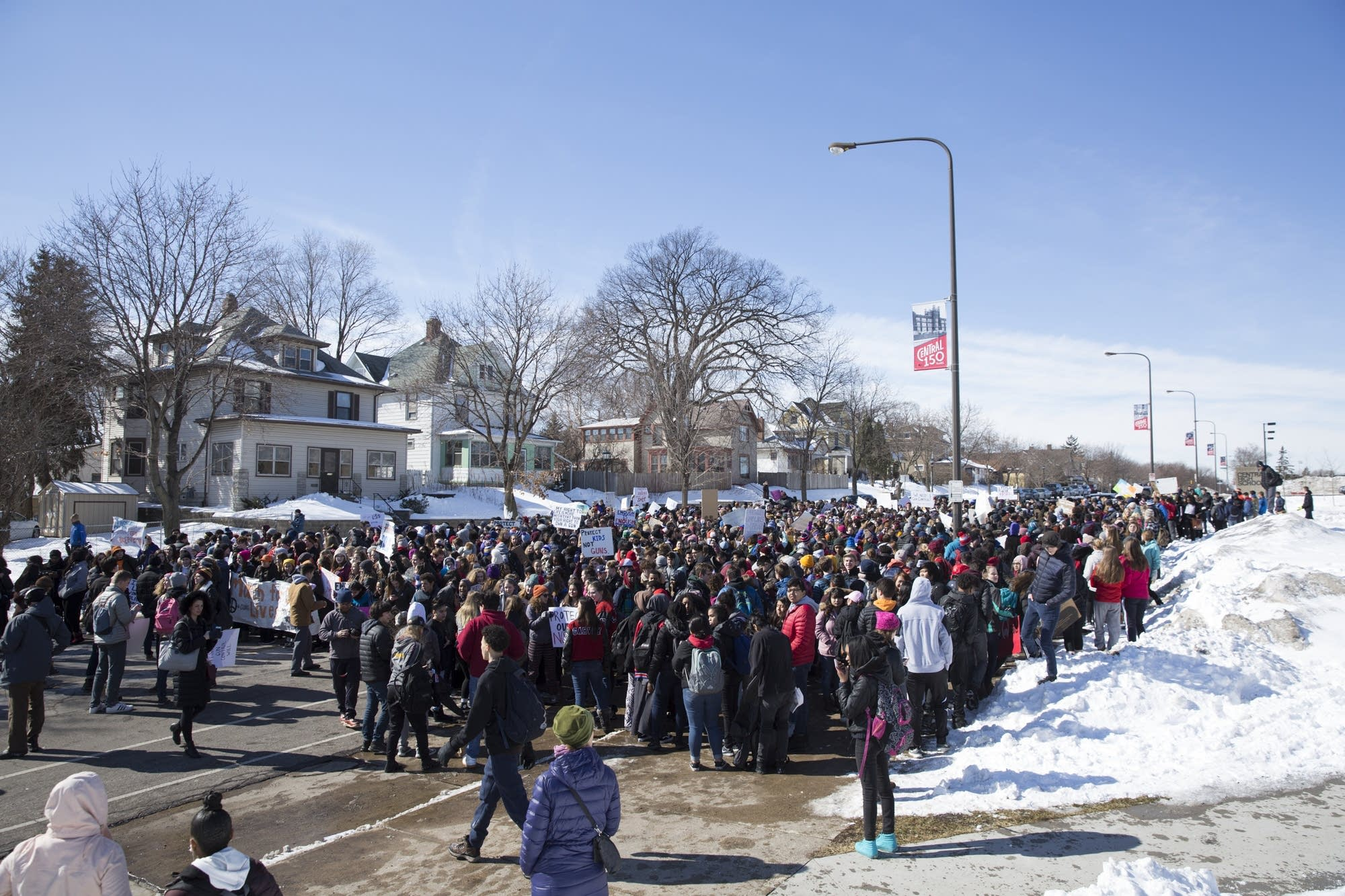 Hundreds of students from Central High School and others gather
