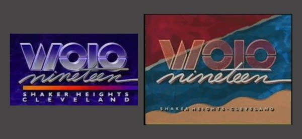 """Two screenshots of an old """"WOIO TV"""" logo from the 90s"""