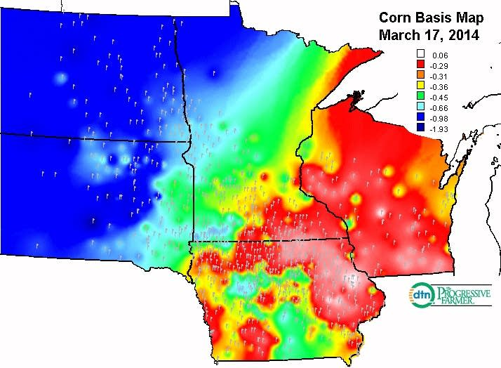 Corn basis map