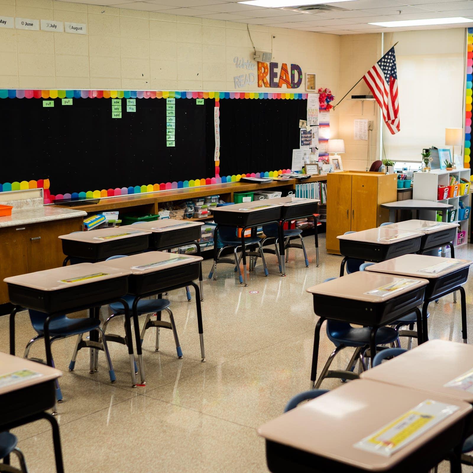 An empty elementary classroom.
