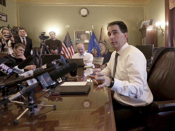 Wisconsin Gov. Scott Walker speaks in his office