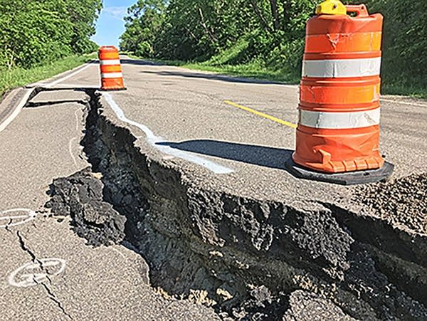 A view of the slope failure along State Highway 67