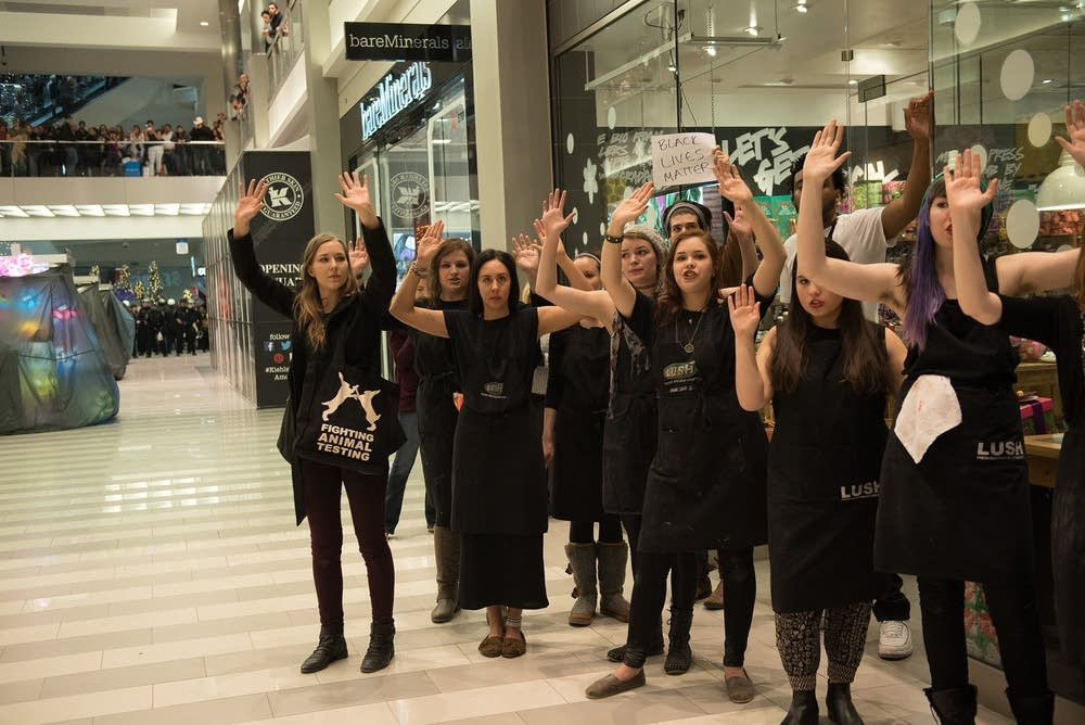 Employees from Lush showed support.