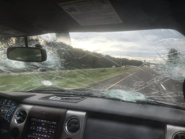 Baseball-sized hail hit Justin Sorensen's car windshield.