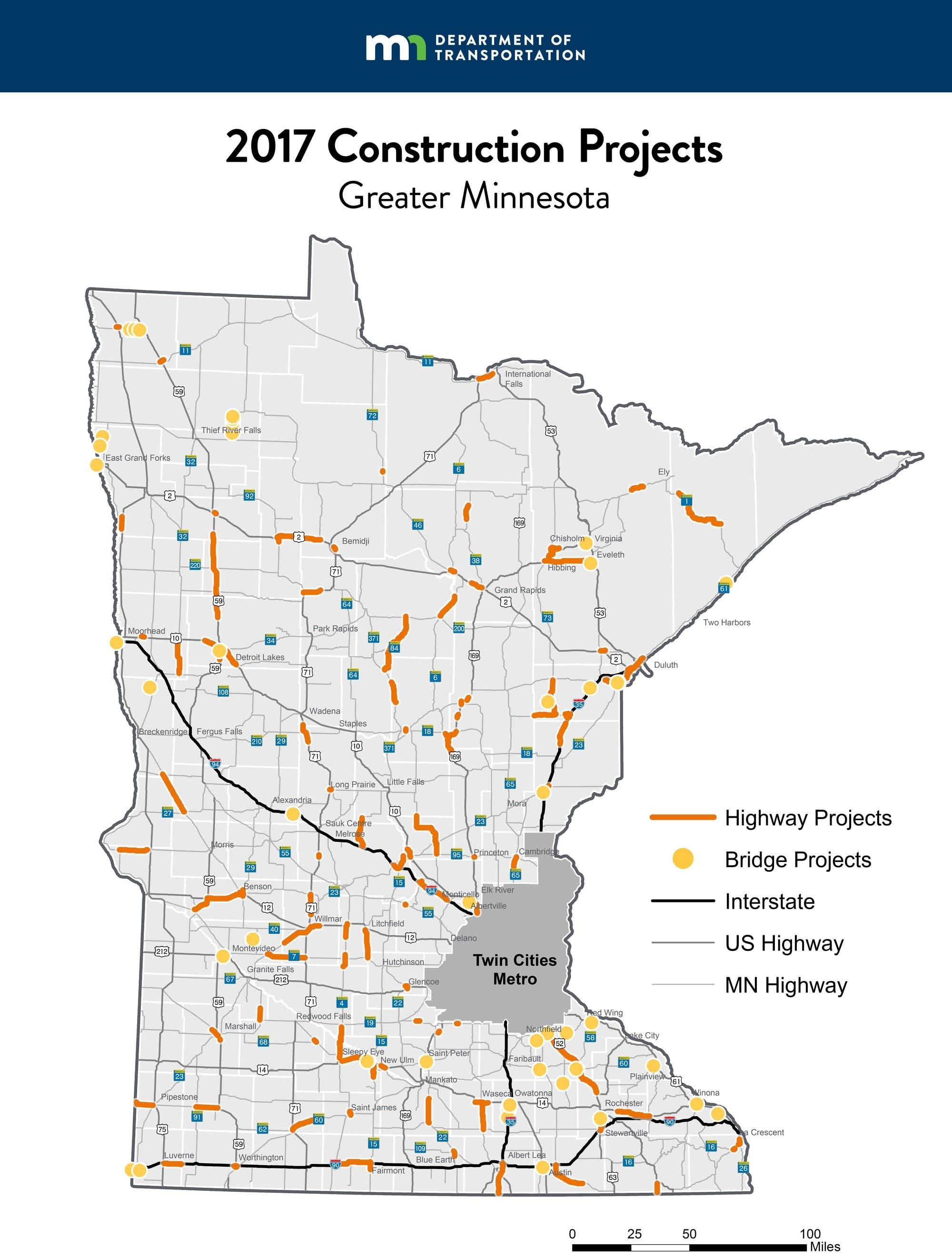 A map of construction projects around greater Minnesota