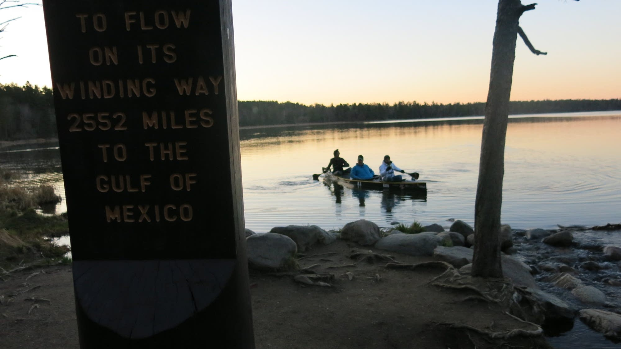 The paddlers drift from Lake Itasca, into the Mississippi River.