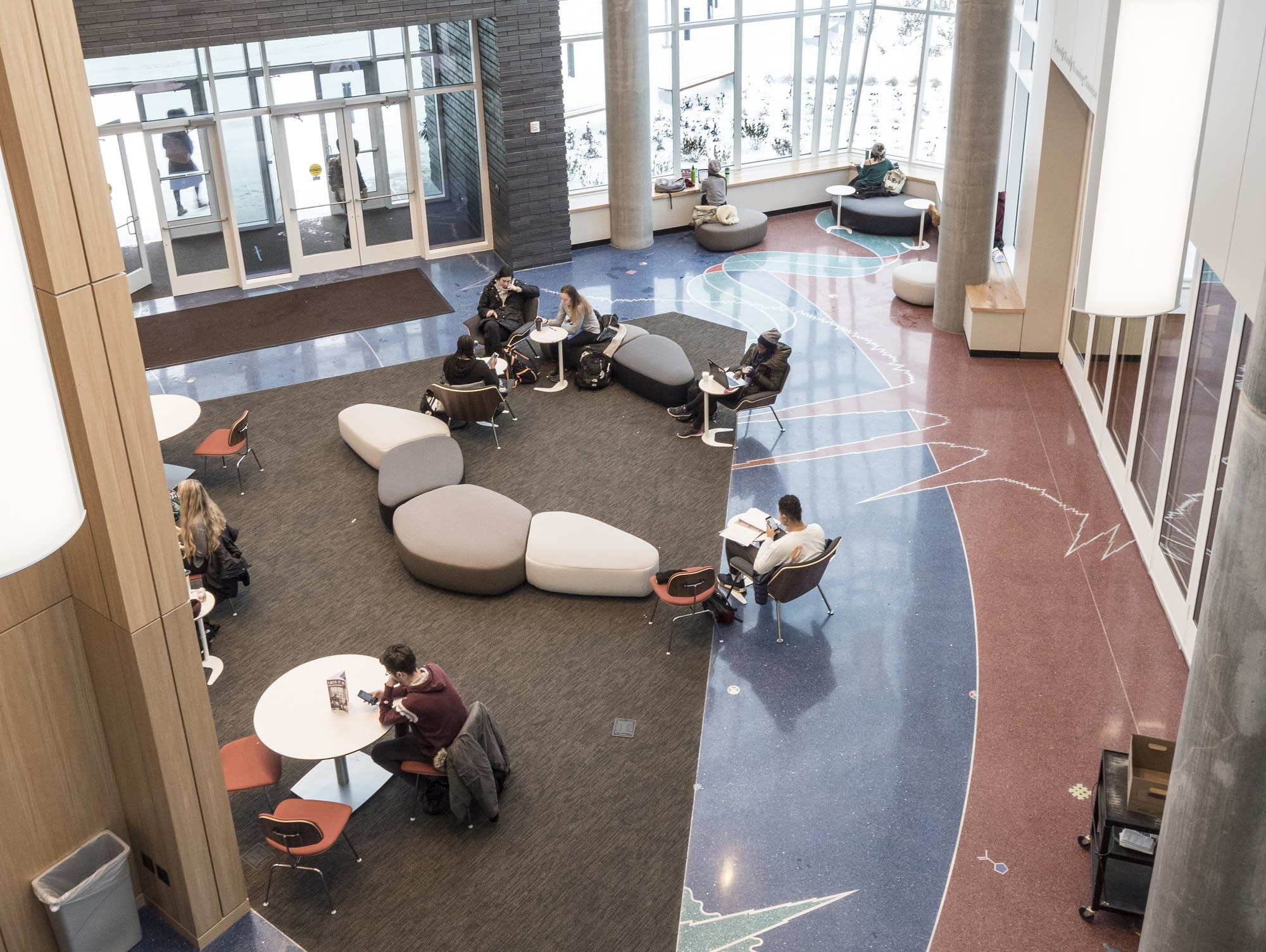 Stanton Sears and Andrea Myklebust designed the floors of Hagfors Center.