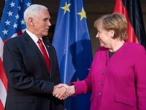 German Chancellor Angela Merkel and U.S. Vice President Mike Pence