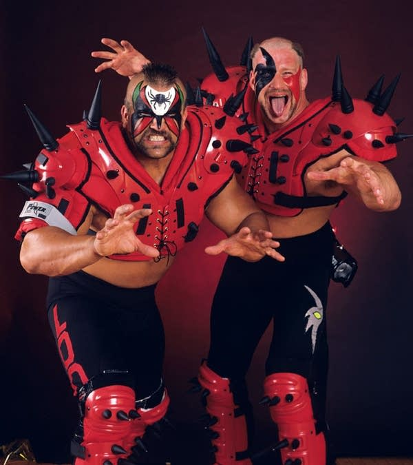Promo shot of the WWF's Road Warriors, Hawk and Animal