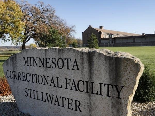 Stone sign outside Stillwater prison.