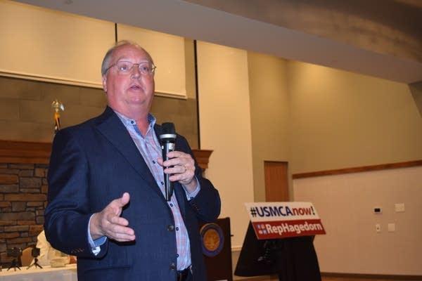 U.S. Rep. Jim Hagedorn speaks at town hall in La Crescent, Minn.