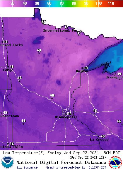 Forecast minimum temps Wednesday morning