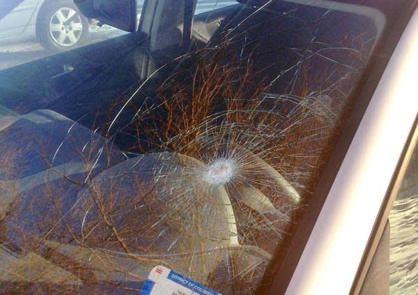 Bridge debris hit car