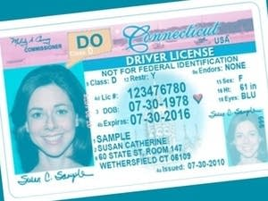 A sample Drive Only license from Connecticut.