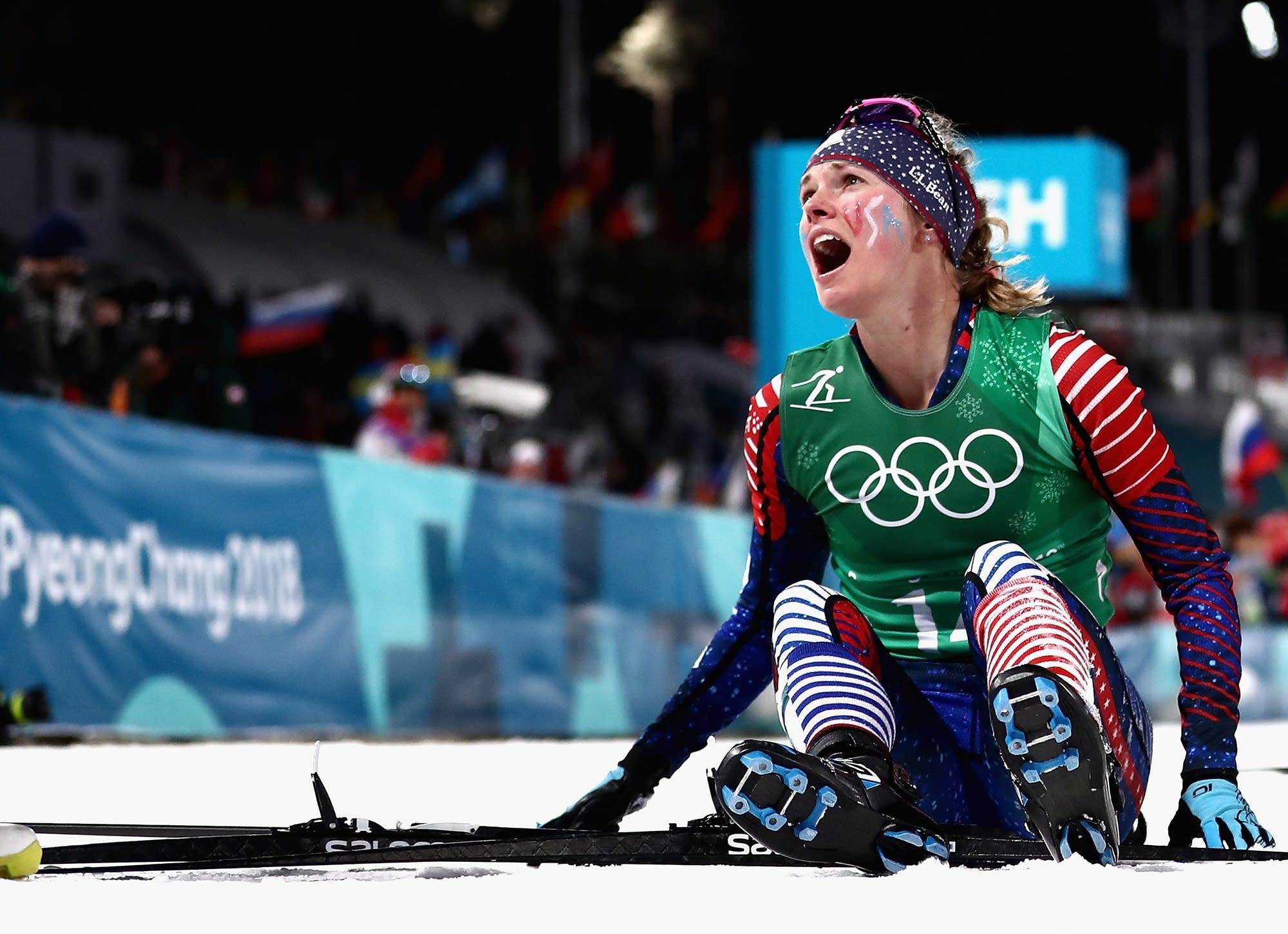 Jessica Diggins of the United States reacts as she wins gold.