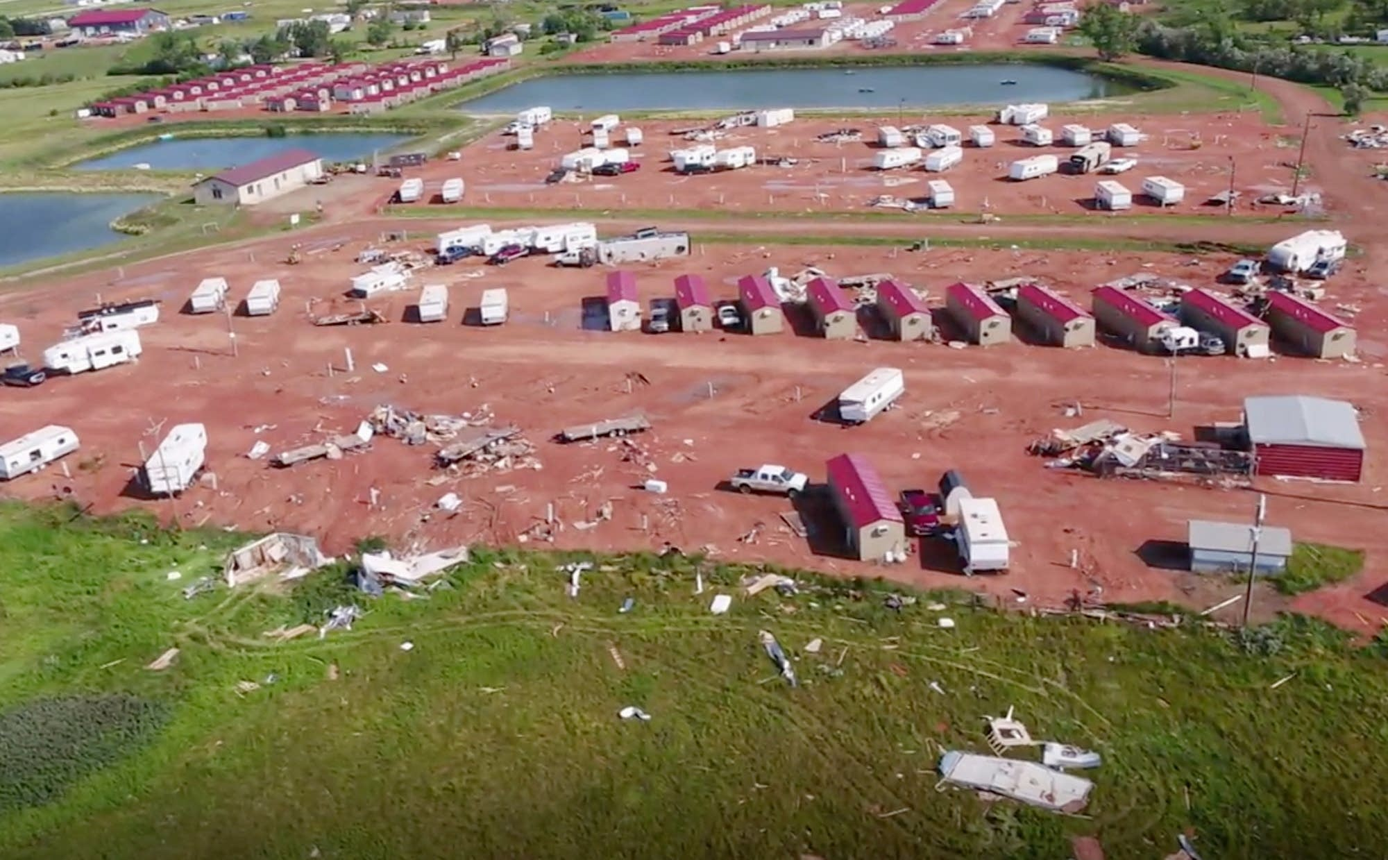 Storm damage at an RV park in North Dakota.