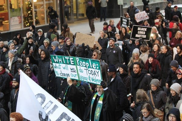 Hundreds of marchers walked into Minneapolis.