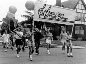 Twin Cities Men's Chorus marches in Minneapolis Gay Pride parade, 1986