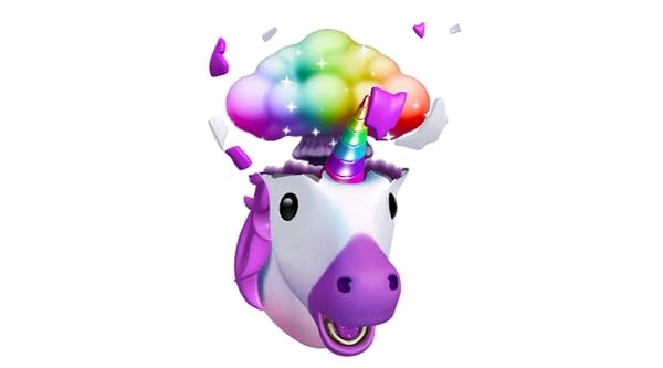 Emoji of rainbow unicorn head w/ mind exploding out of shock