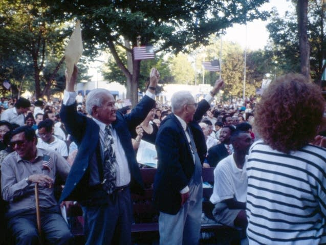 A naturalization ceremony during the 1995 Minnesota State Fair.