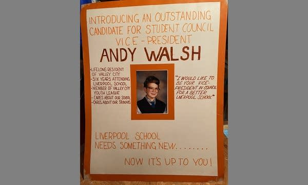 Handmade school council campaign poster with young Andrew's photo