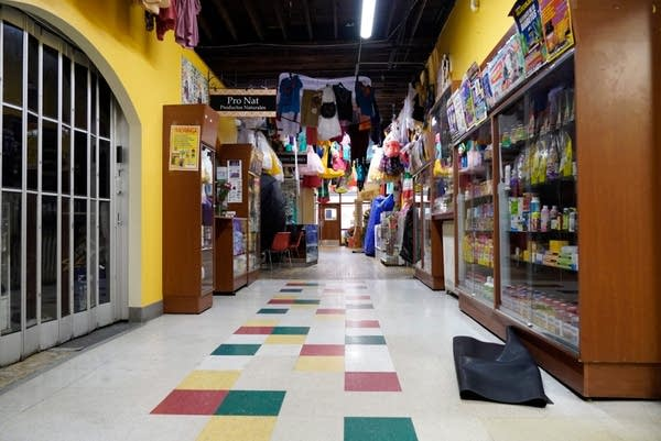An empty aisle at a small business