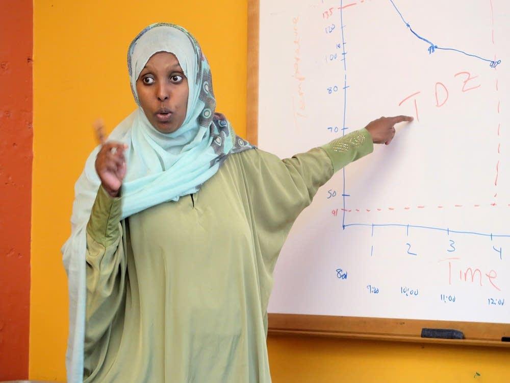 Farhiya Farah taught a food safety class in Somali