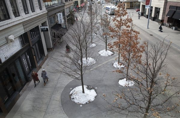 People wearing winter coats walk past trees planted in sidewalks.