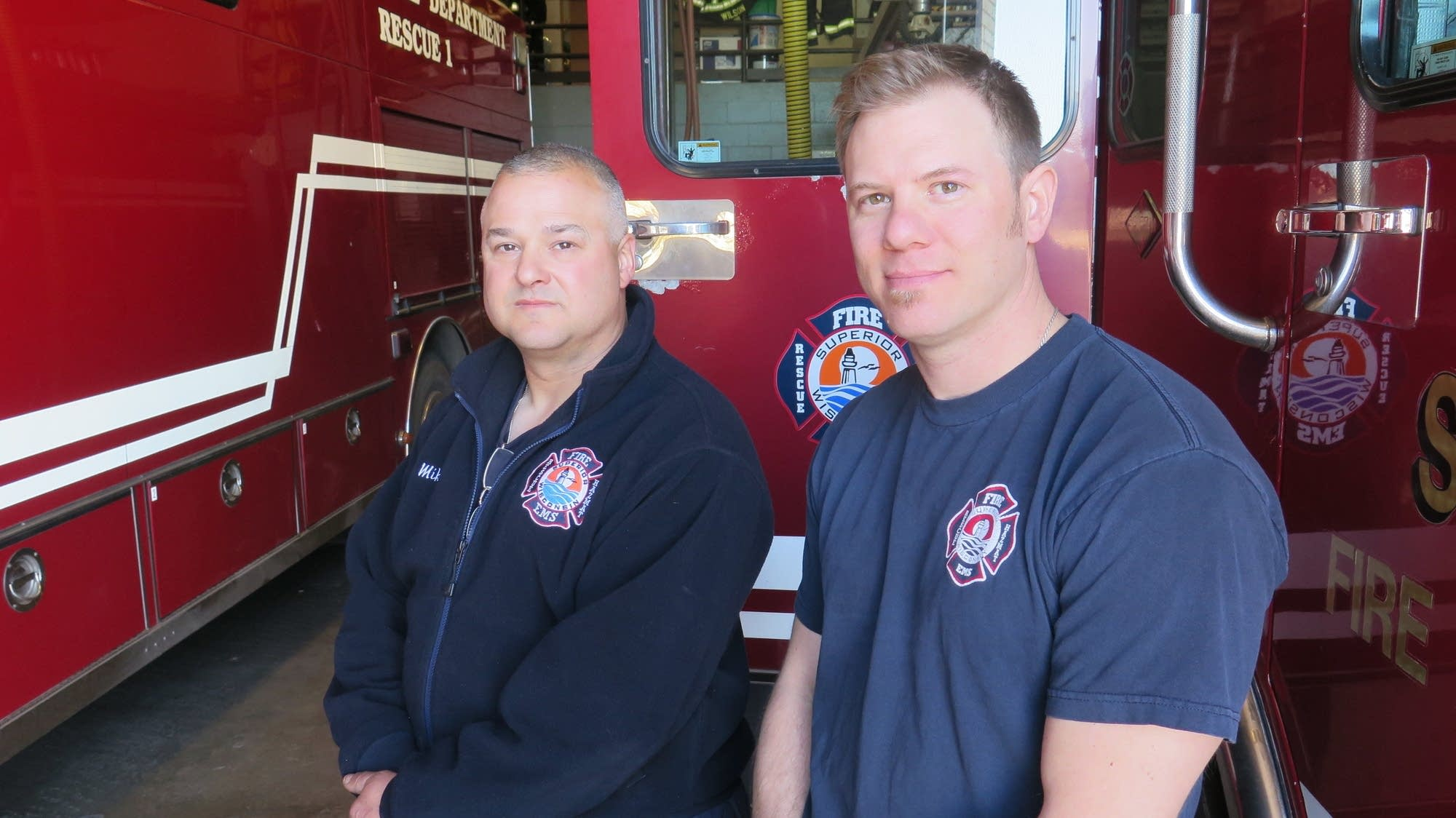 Mike Hoyt and Dan Sertich of the Superior Wis. Fire Department