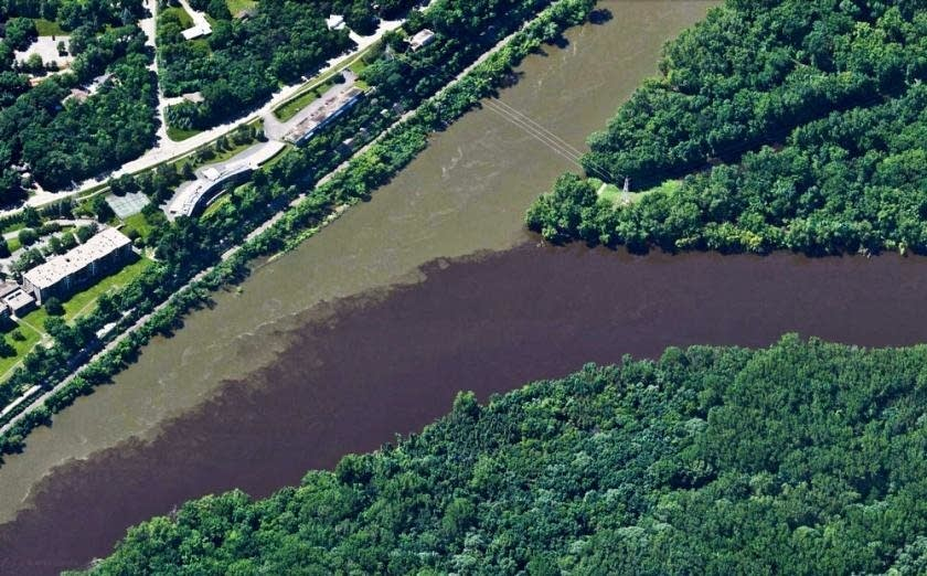 The confluence of the Minnesota River, on left, and the Mississippi.