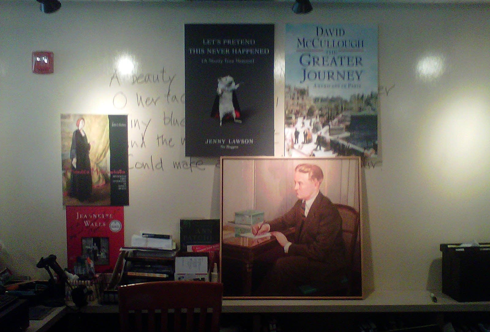 Employees at Keillor's bookstore covered up a limerick he wrote.
