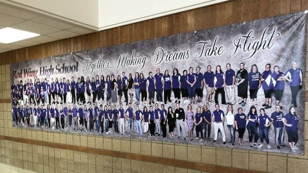 A banner adorns a wall of Red Wing High
