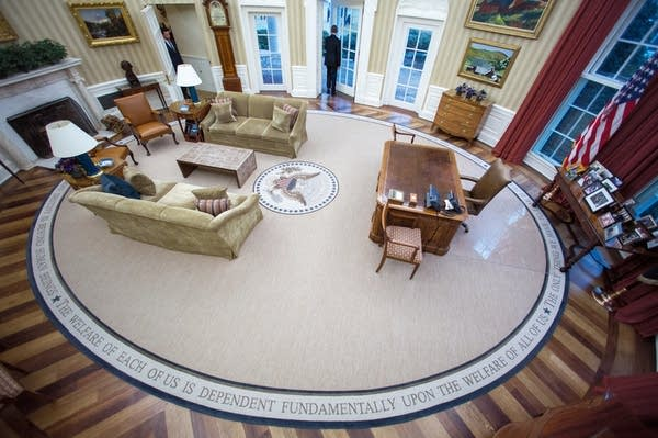 Obama leaves the Oval Office for the last time as president.