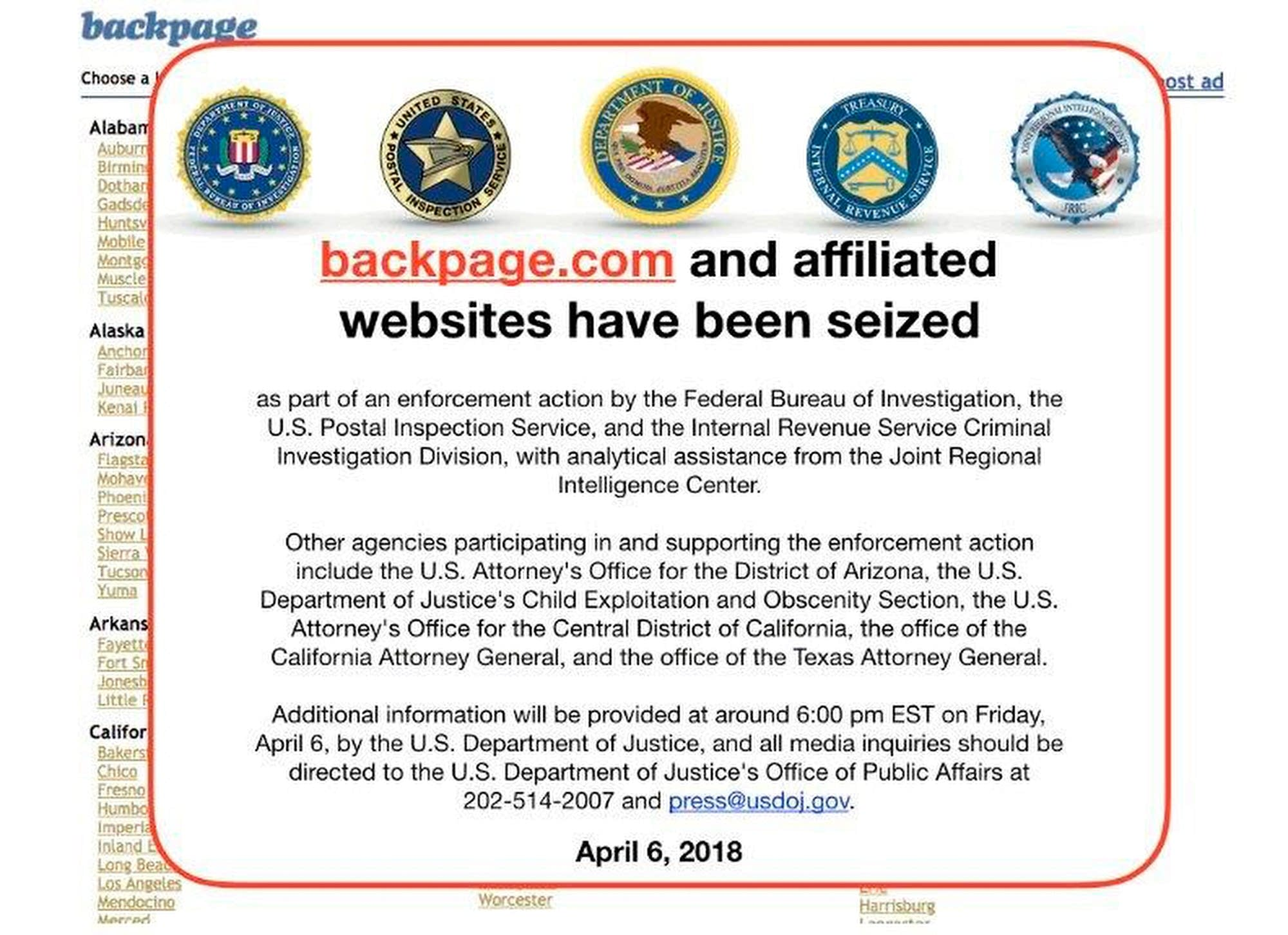 Fbi Notice On The Backpage Com Website