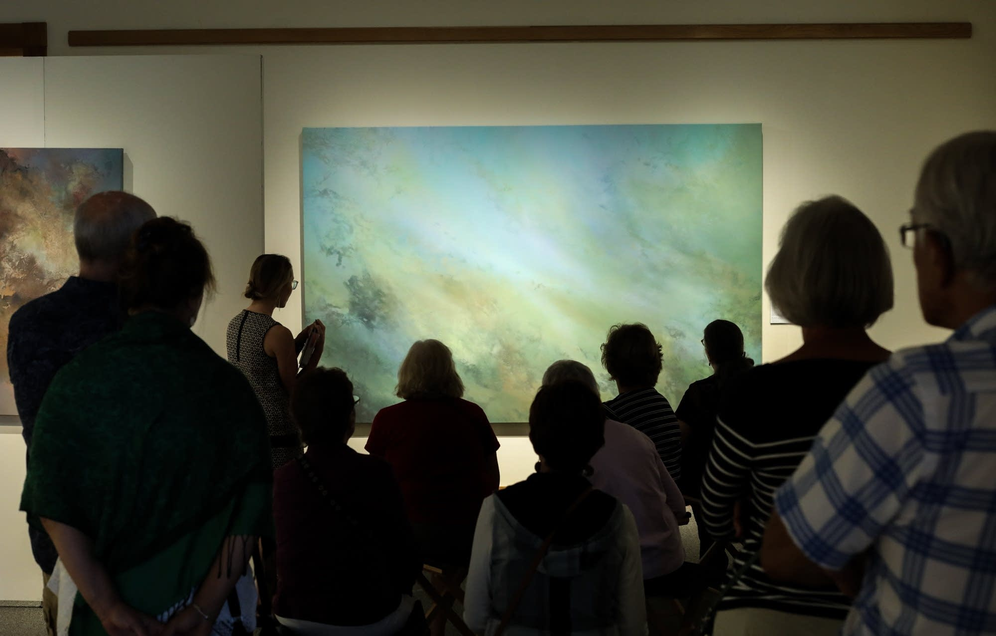"Painter Annie Hejny leads a tour of her exhibition ""Waterlines"""