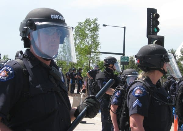 Police in Denver during the DNC