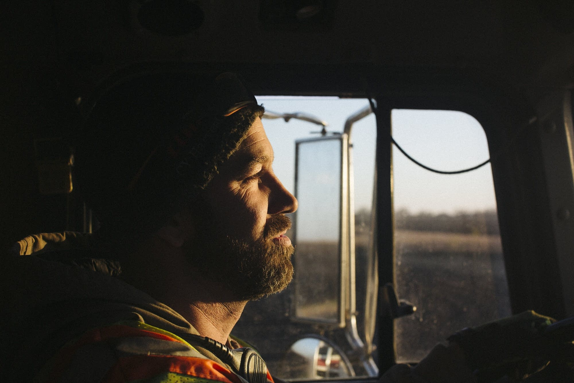 Sean Collins drives a truck to the storage site.