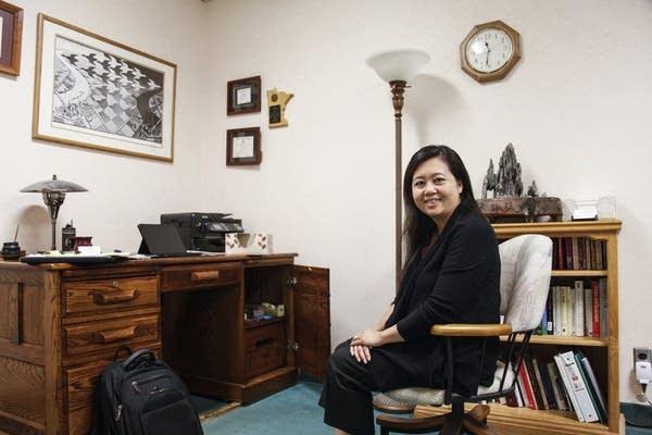 Alyssa Vang, Hmong psychologist sits her office in St. Paul, Minn.