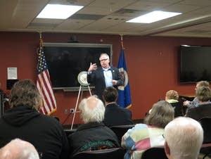 Minnesota congressman Tim Walz at a town hall meeting in Worthington.