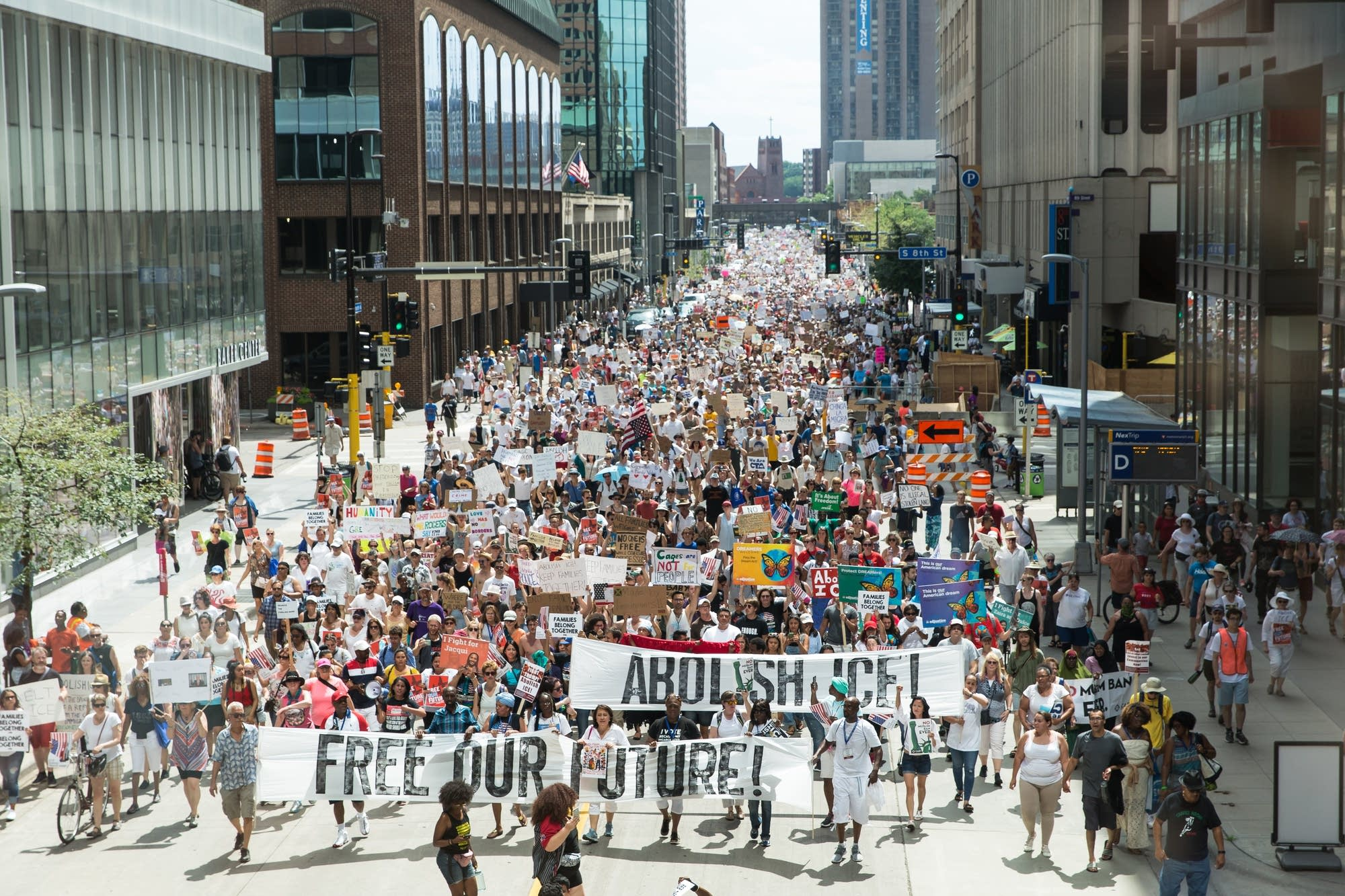 Thousands of protesters make their way down the streets of Minneapolis.