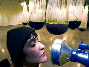 Alison Hiltner blows air into a mouthpiece to interact with algae.