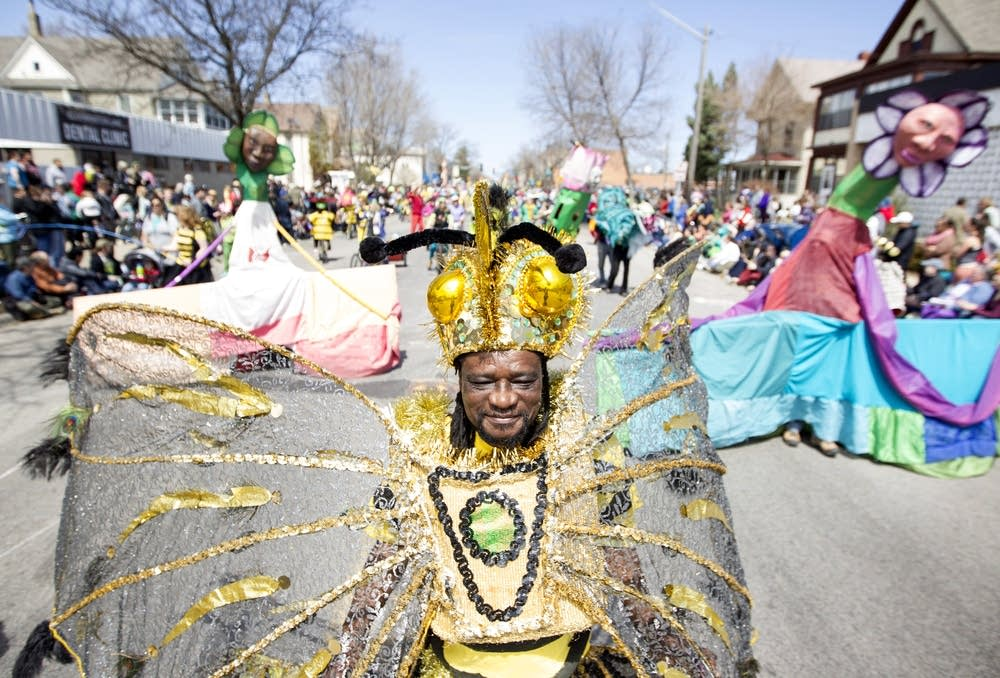 James Byron walks in the parade as a bee.
