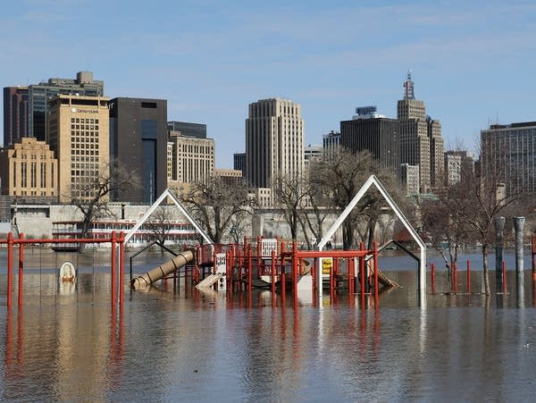 The playground at Harriet Island is inundated by floodwaters