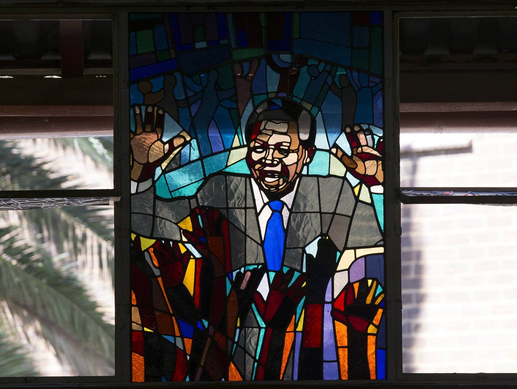 A stained-glass tribute to Nelson Mandela in Regina Mundi