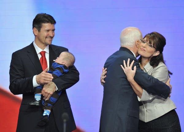 John McCain and Sarah Palin hug