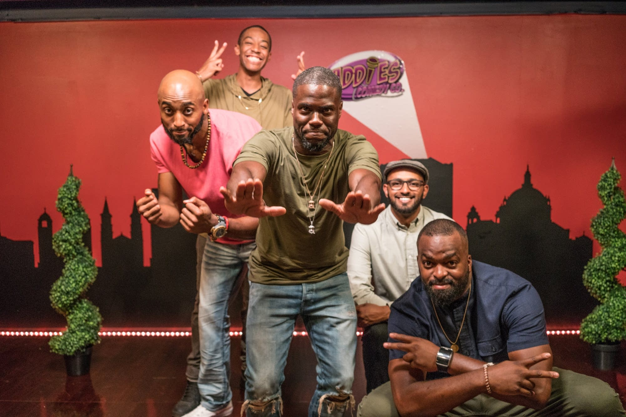 Comedian Kevin Hart with four Twin Cities comics selected for his show.